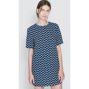 Zara Woman Retro Printed Chevron Shift Dress - L